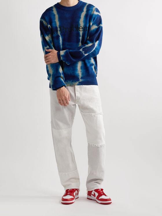 Aries Tie-Dyed Wool-Jacquard Sweater
