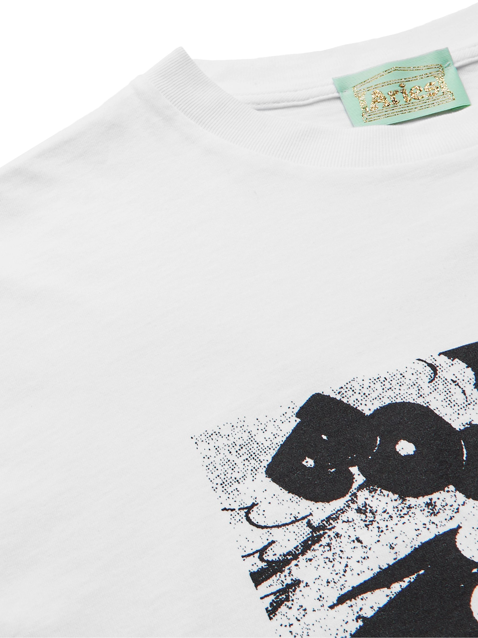 White Printed Cotton-jersey T-shirt | Aries