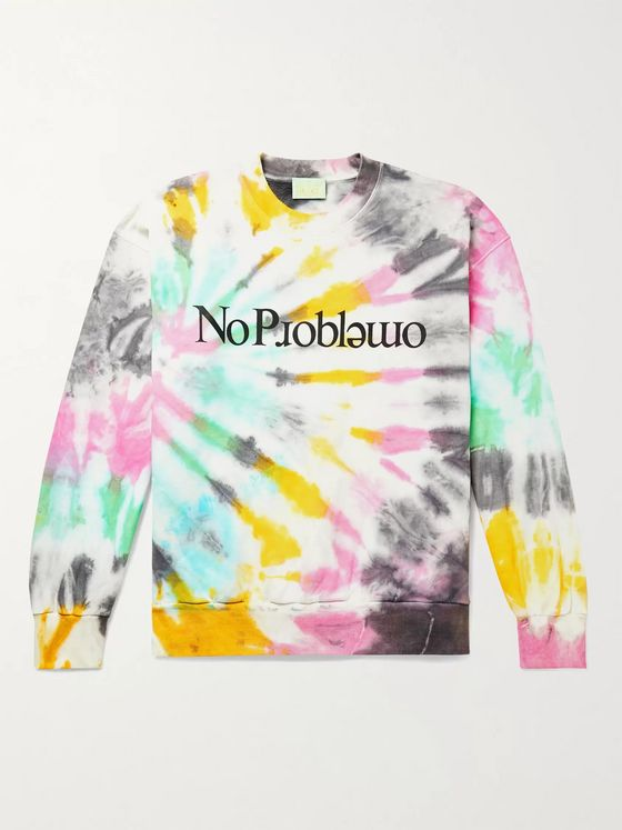 Aries No Problemo Tie-Dyed Fleece-Back Cotton-Jersey Sweatshirt