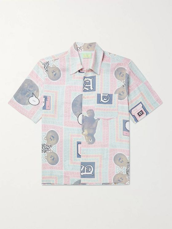 Aries Scarf Camp-Collar Printed Voile Shirt