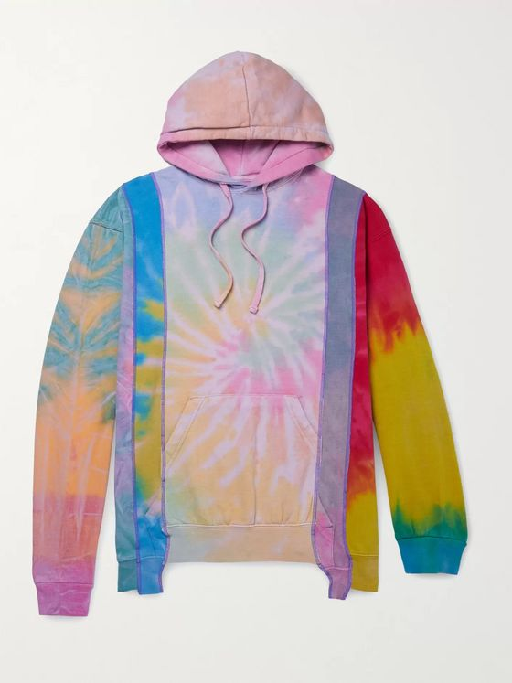 Needles Patchwork Tie-Dyed Fleece-Back Cotton-Blend Jersey Hoodie