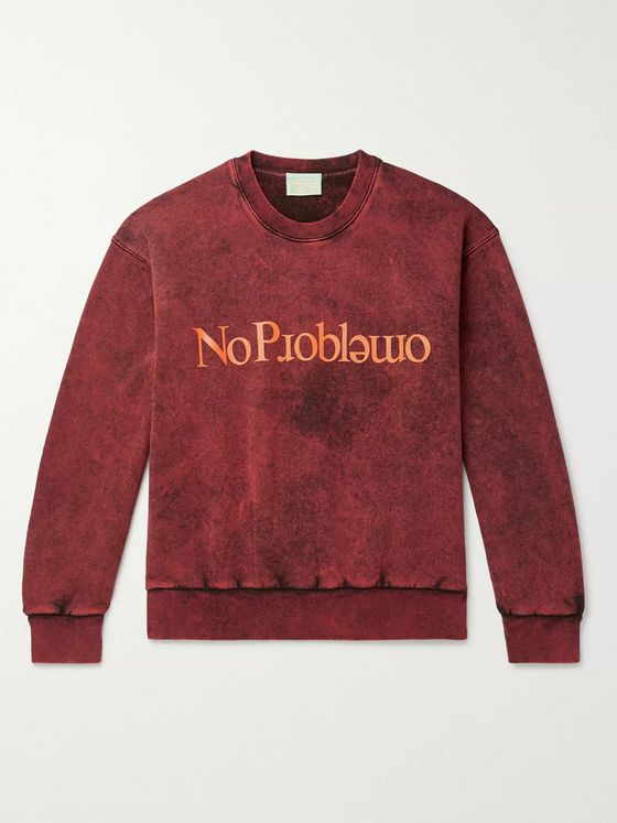 Aries No Problemo Acid-Washed Loopback Cotton-Jersey Sweatshirt