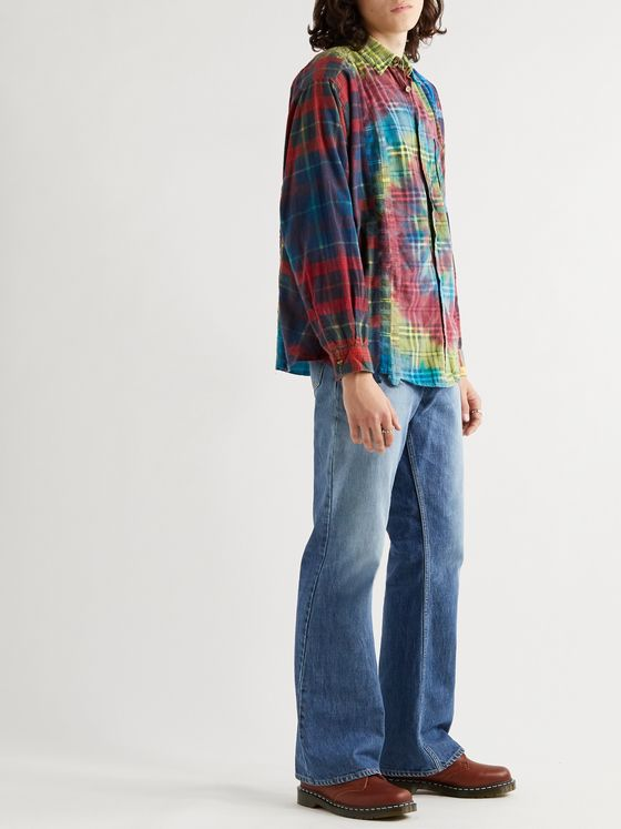 Needles Patchwork Tie-Dyed Checked Cotton-Flannel Shirt