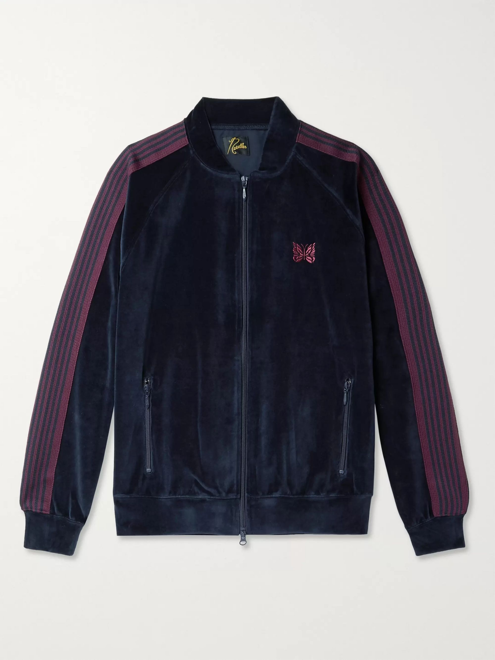 Needles Logo-Embroidered Webbing-Trimmed Cotton-Blend Velour Track Jacket