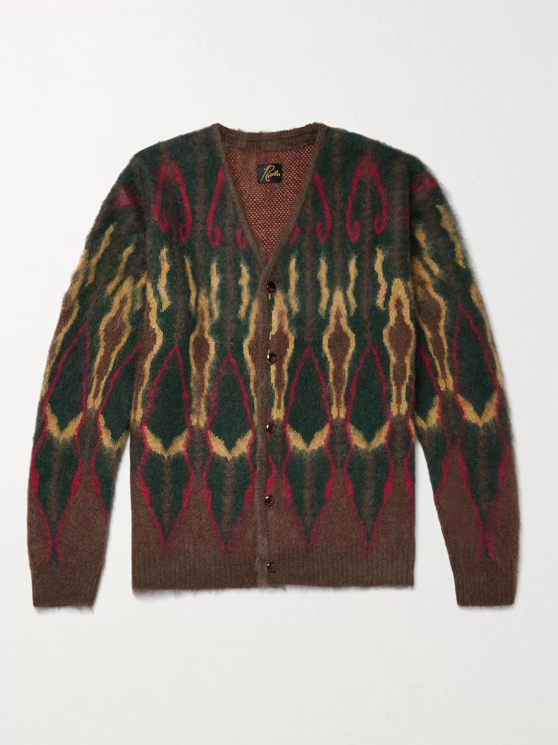 Needles Intarsia Mohair-blend Cardigan In Brown
