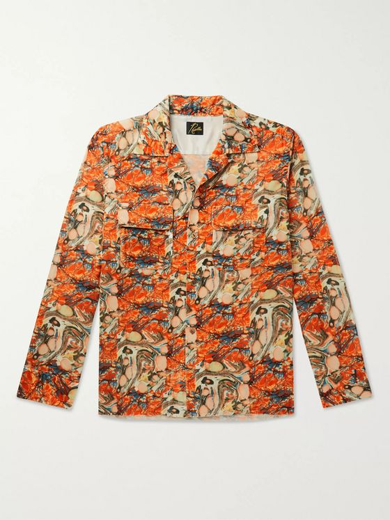 Needles Camp-Collar Printed Velvet Shirt