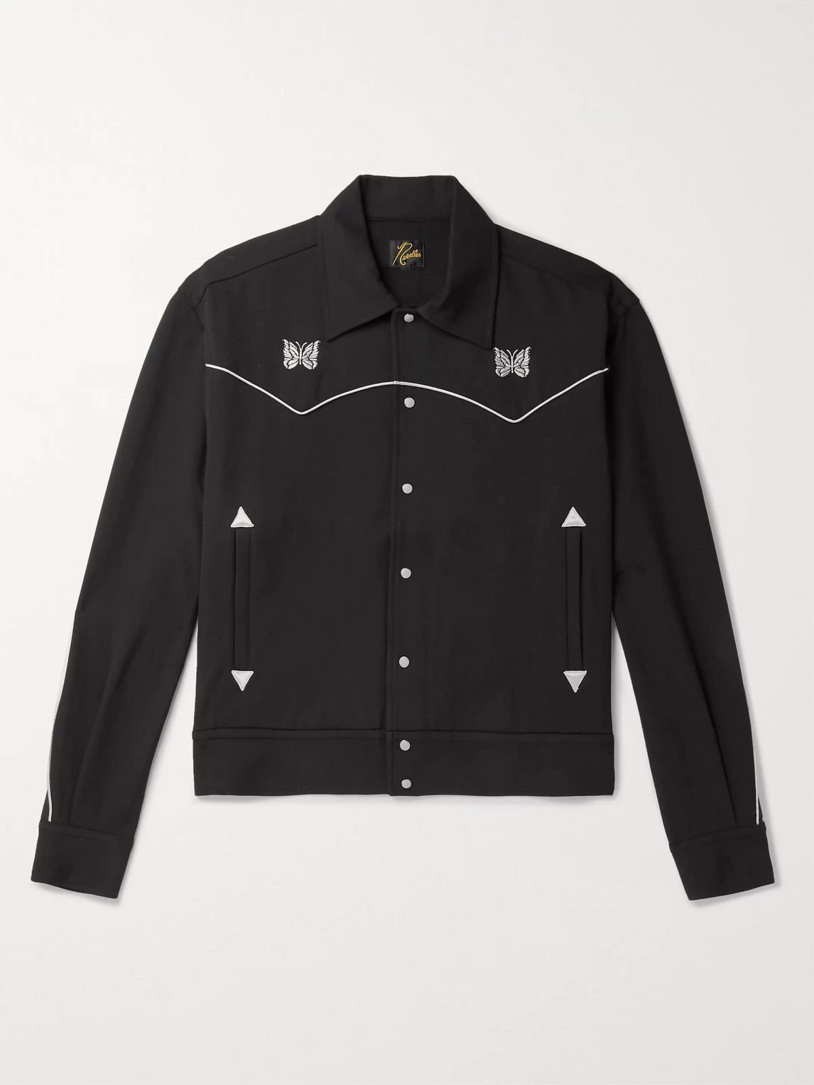 Needles Logo-embroidered Piped Twill Jacket In Black