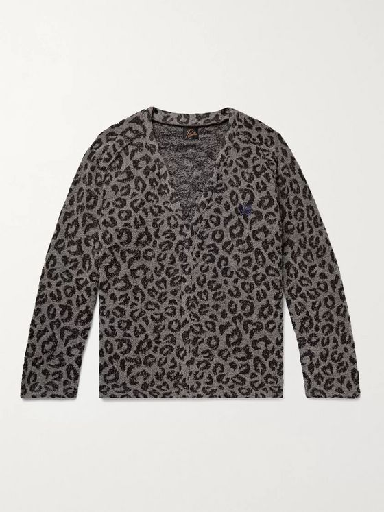 Needles Logo-Embroidered Leopard-Print Bouclé Cardigan