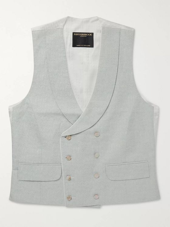 Favourbrook Double-Breasted Cotton, Linen and Silk-Blend Jacquard Waistcoat