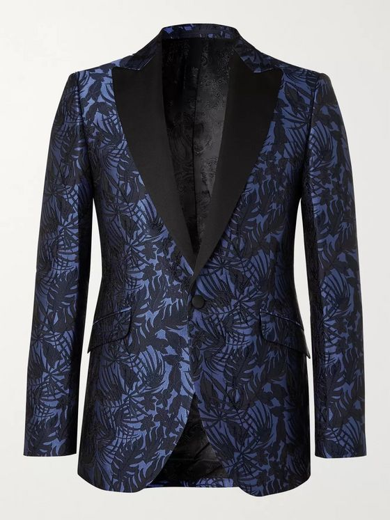 Favourbrook Botanics Grosgrain-Trimmed Cotton and Silk-Jacquard Tuxedo Jacket