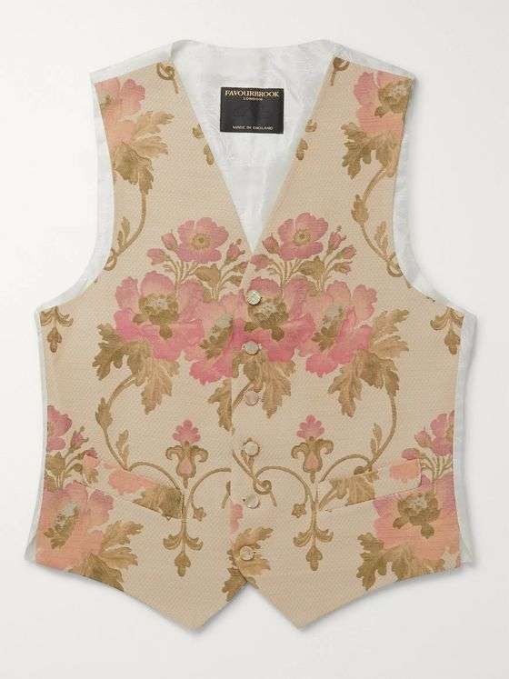 Favourbrook Belvoir Cotton, Wool and Silk-Blend Jacquard Waistcoat