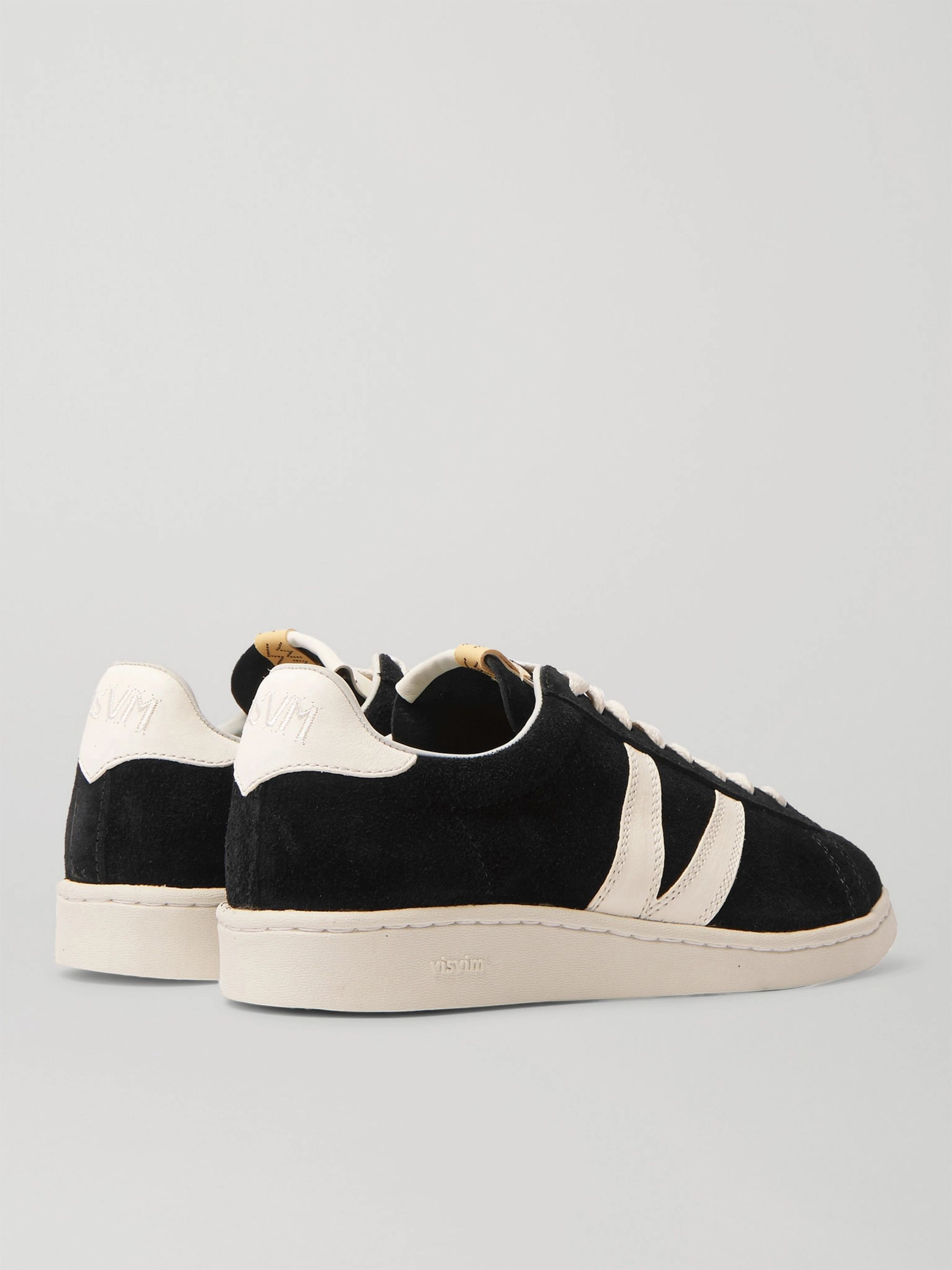 Black Corda-folk Leather-trimmed Suede Sneakers | Visvim