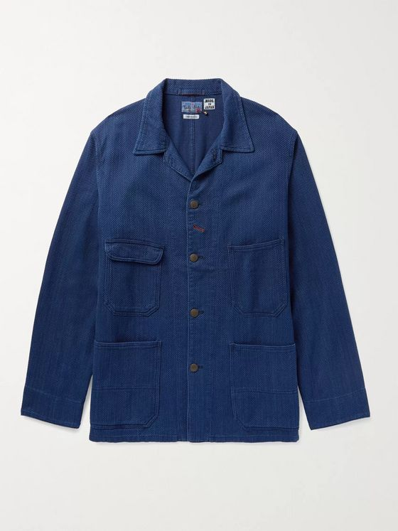 Blue Blue Japan Sashiko Camp-Collar Indigo-Dyed Cotton-Jacquard Jacket