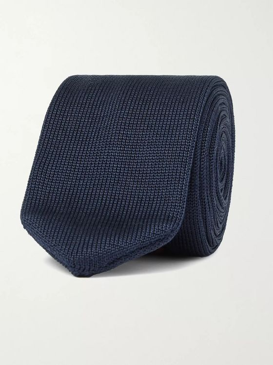 Blue Blue Japan 7cm Knitted Silk-Jacquard Tie