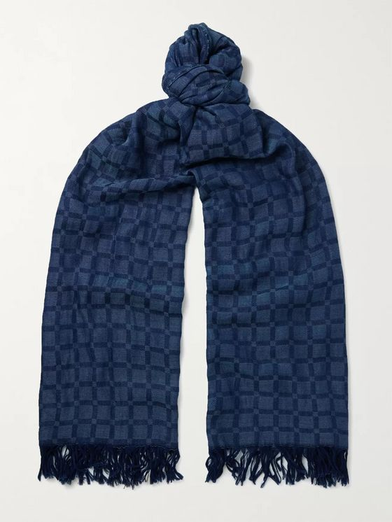 Blue Blue Japan Indigo-Dyed Cotton-Dobby Scarf