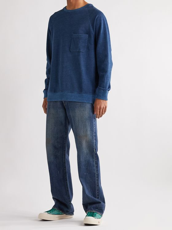 Blue Blue Japan Indigo-Dyed Loopback Cotton-Jersey Sweatshirt