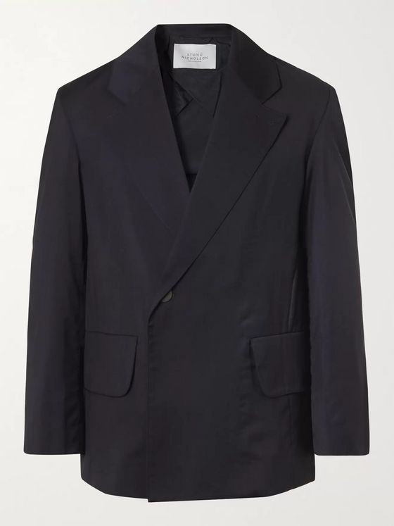 STUDIO NICHOLSON Double-Breasted Virgin Wool Suit Jacket