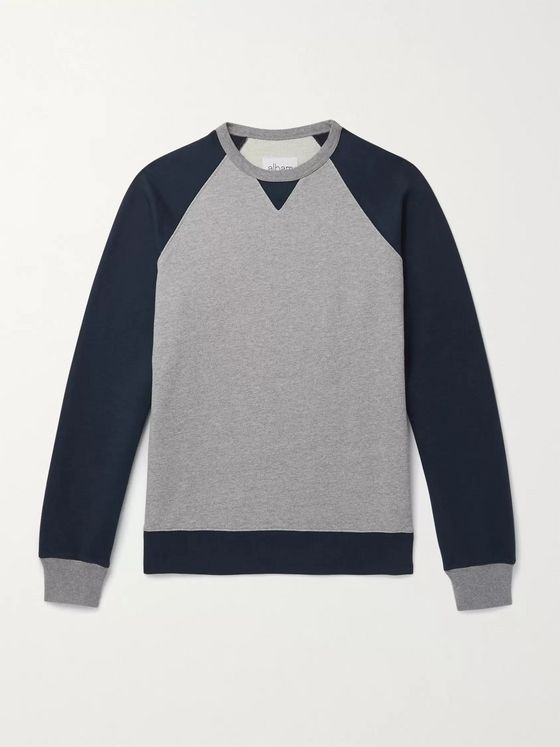 Albam Mélange Colour-Block Loopback Cotton-Jersey Sweatshirt