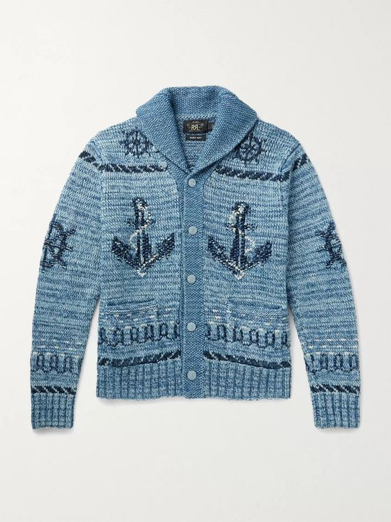 RRL Cotton, Linen and Wool-Blend Jacquard Cardigan
