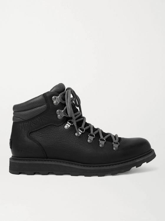 SOREL Madson II Suede-Trimmed Textured-Leather Hiking Boots