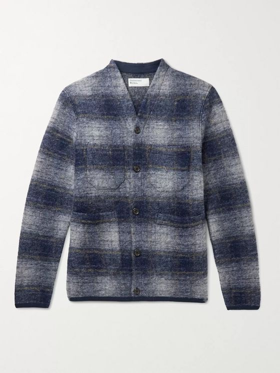 Universal Works Checked Wool-Blend Cardigan