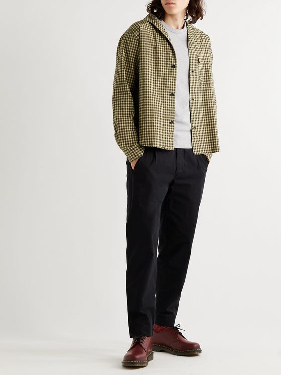 Albam Miles Camp-Collar Checked Cotton-Flannel Shirt