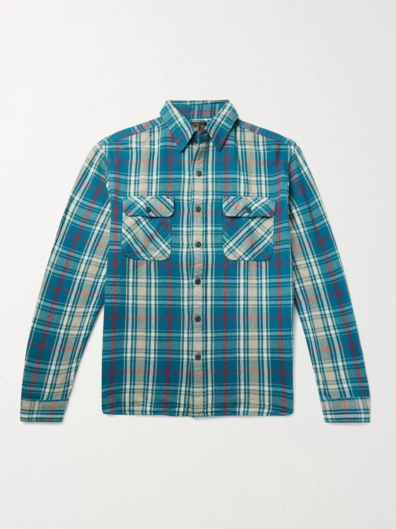 RRL Matlock Slim-Fit Checked Cotton-Flannel Shirt