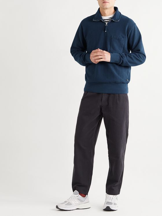 Universal Works Half-Zip Loopback Cotton-Jersey Sweatshirt