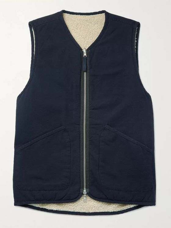 Universal Works Faux Shearling-Lined Cotton Gilet
