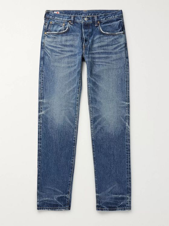 EDWIN Slim-Fit Tapered Distressed Selvedge Denim Jeans
