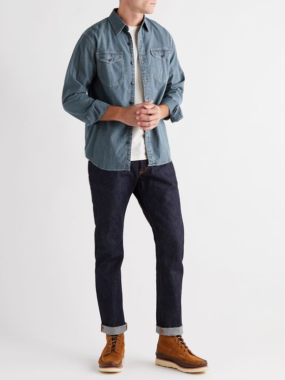 RRL Lee Striped Cotton-Chambray Shirt