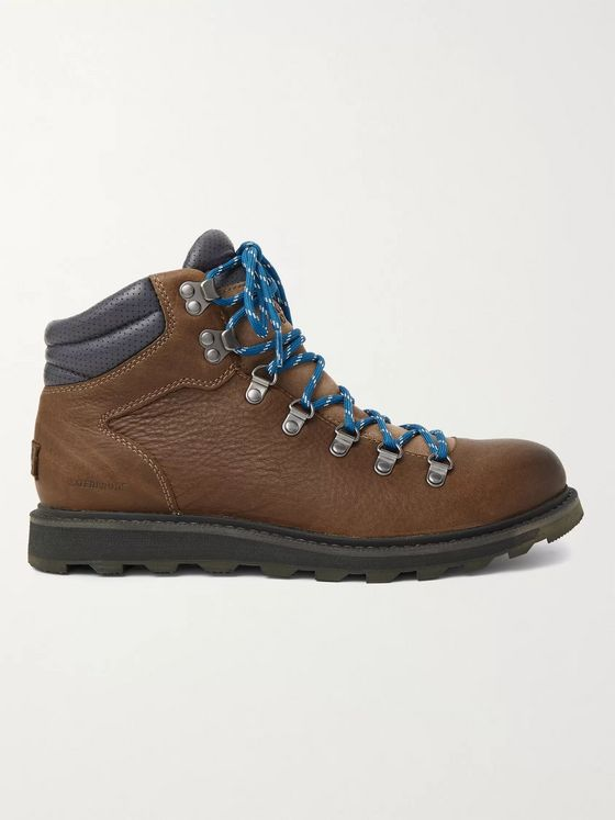 SOREL Madison II Suede-Trimmed Textured-Leather Hiking Boots