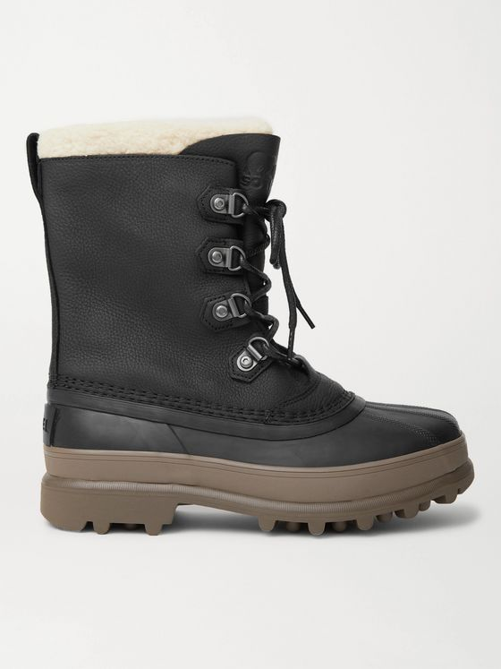 SOREL Caribou Stack Faux Shearling-Trimmed Waterproof Leather and Rubber Snow Boots