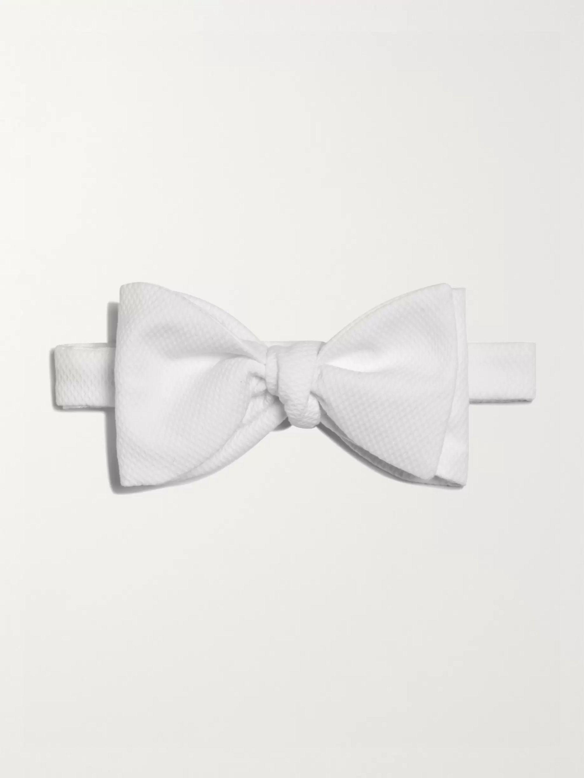 Turnbull & Asser Pre-Tied Cotton-Pique Bow Tie,White