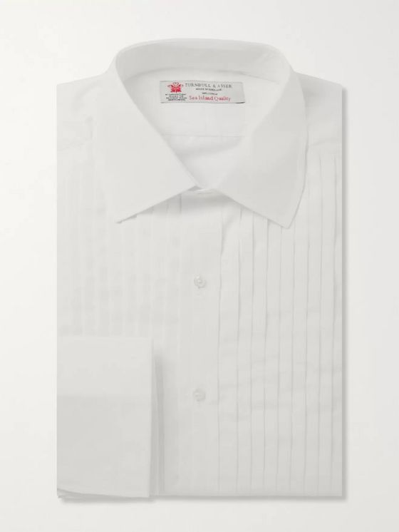 TURNBULL & ASSER White Sea Island Cotton Tuxedo Shirt