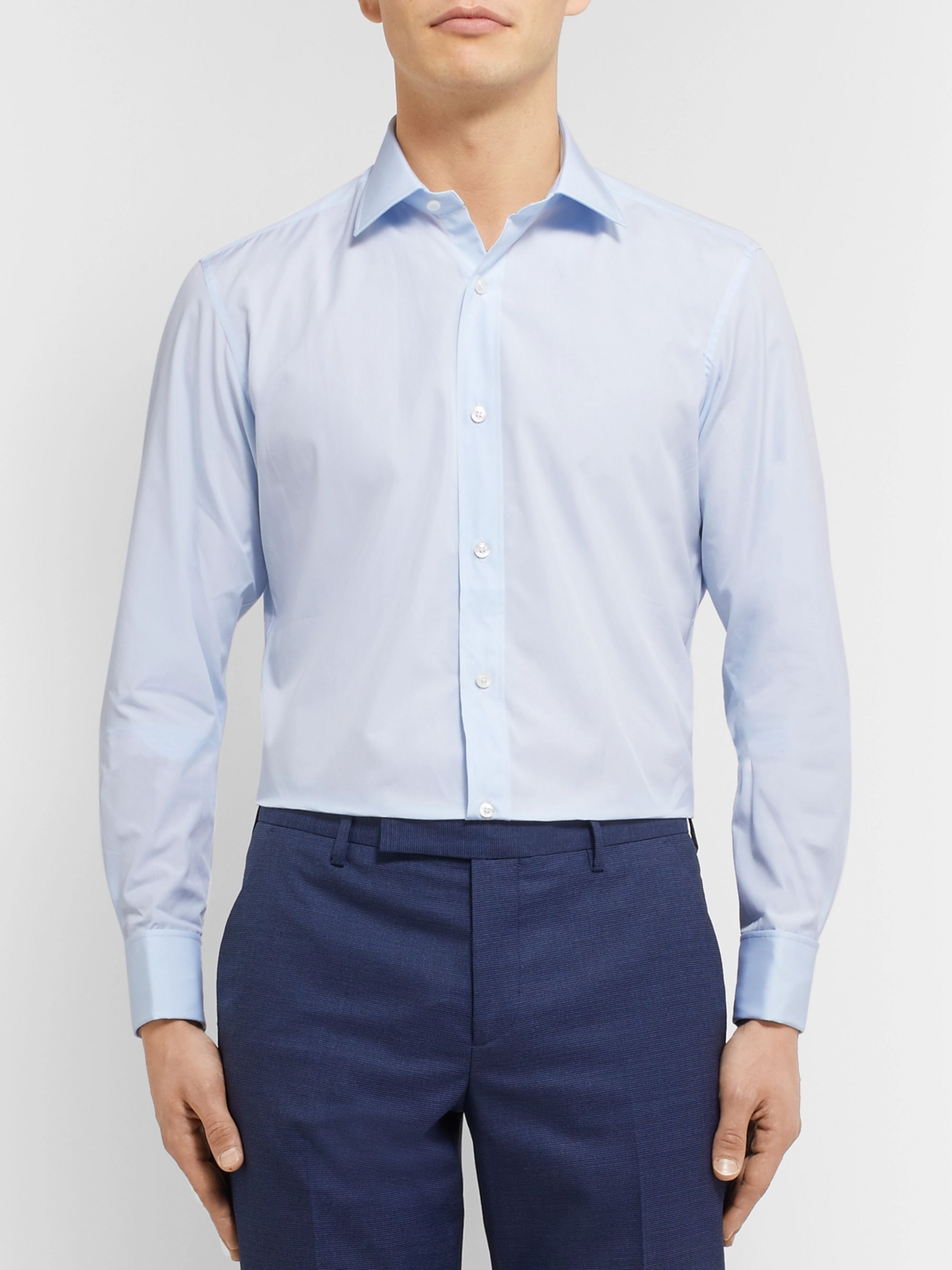 Charvet Blue Slim-Fit Double Cuff Cotton-Poplin Shirt