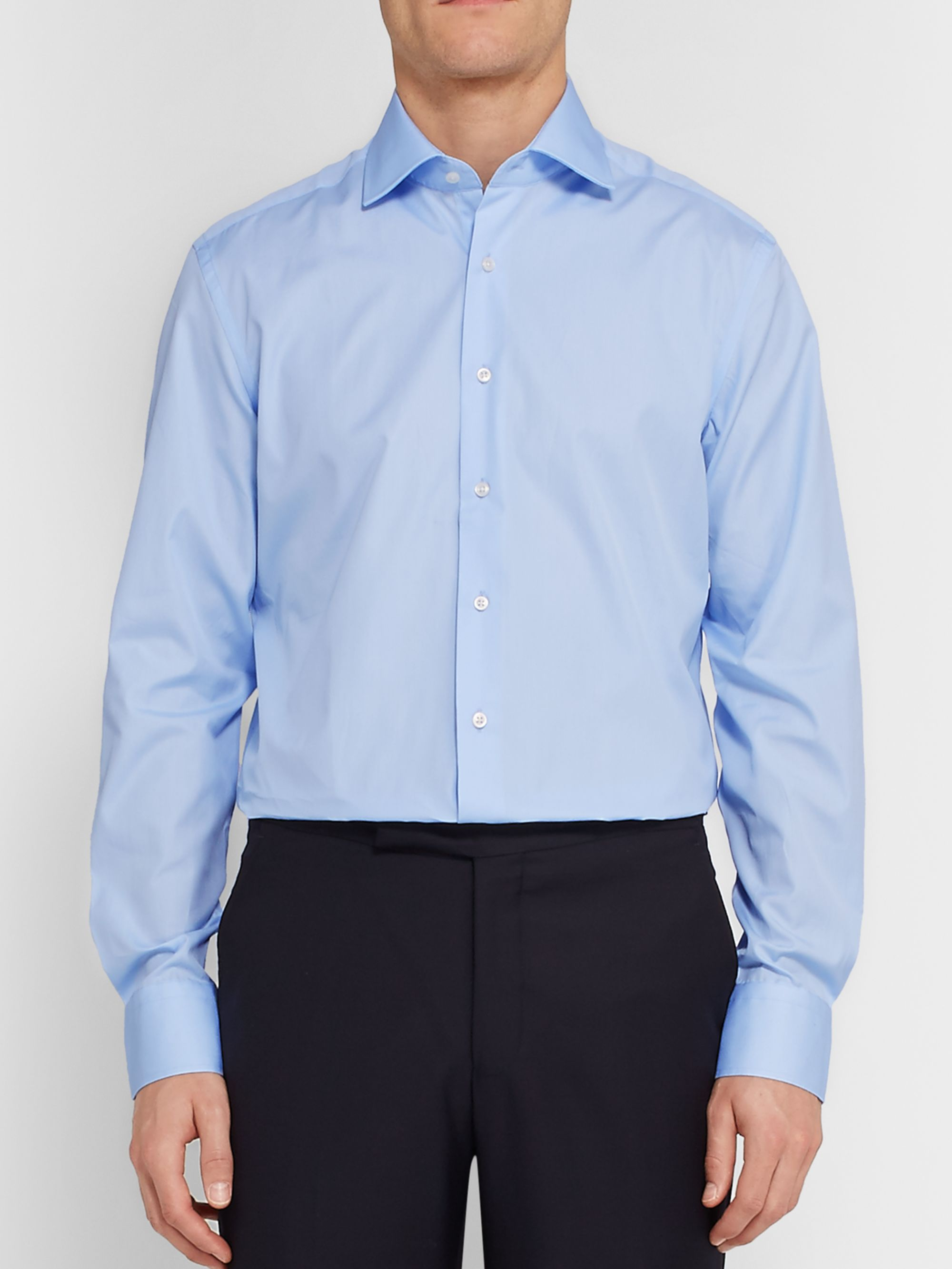 Hackett Blue Mayfair Slim-Fit Cotton-Poplin Shirt