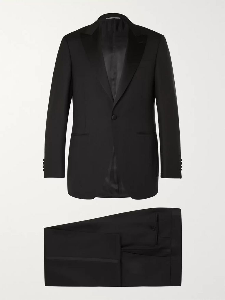 Canali Black Slim-Fit Satin-Trimmed Wool Tuxedo