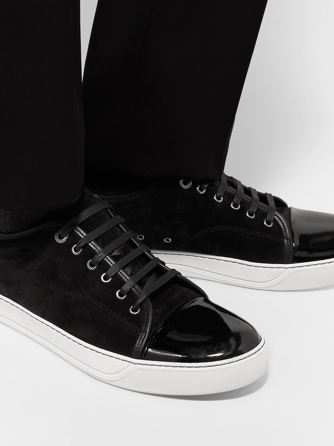 Lanvin Sneakers CAP-TOE SUEDE AND PATENT-LEATHER SNEAKERS