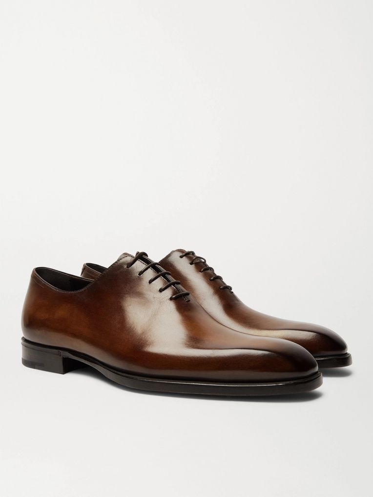 Berluti Alessandro Capri Leather Whole-Cut Oxford Shoes