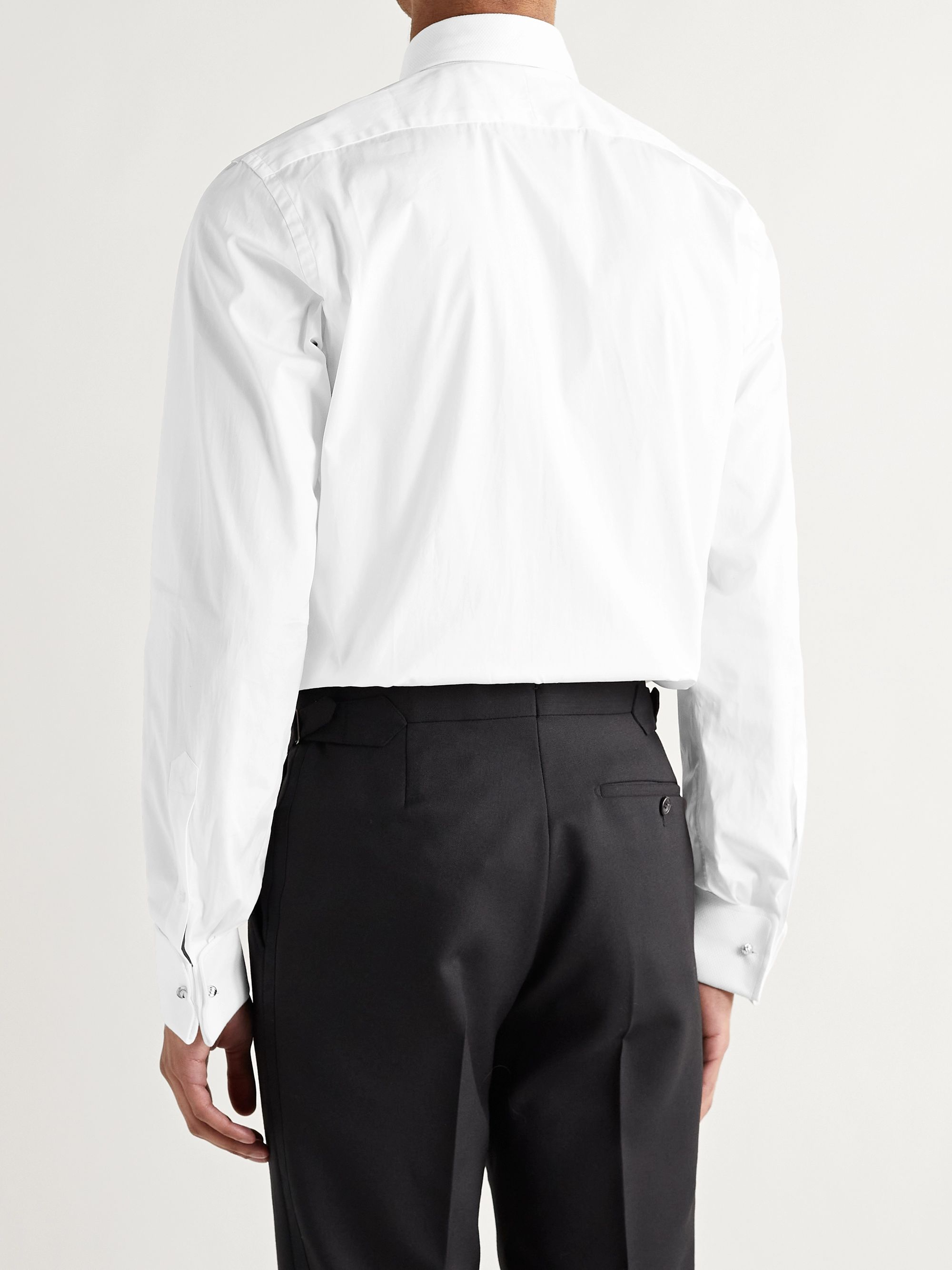 TOM FORD White Slim-Fit Bib-Front Double-Cuff Cotton Tuxedo Shirt