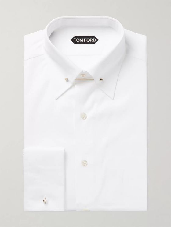 TOM FORD White Slim-Fit Pinned-Collar Double-Cuff Cotton-Poplin Shirt