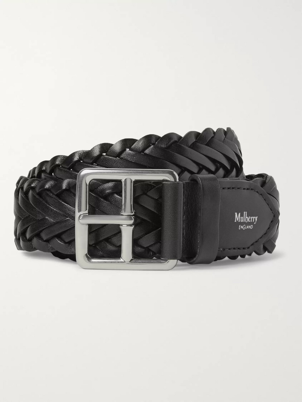 Mulberry 4cm Black Woven Leather Belt