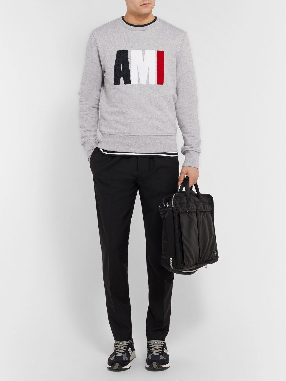 AMI Terry-Detailed Loopback Cotton-Jersey Sweatshirt