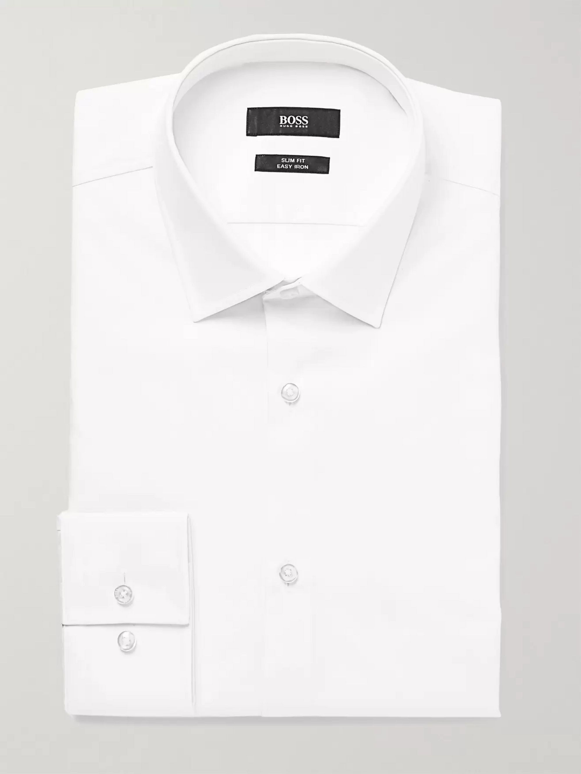 Hugo Boss White Jenno Slim-Fit Cotton Shirt