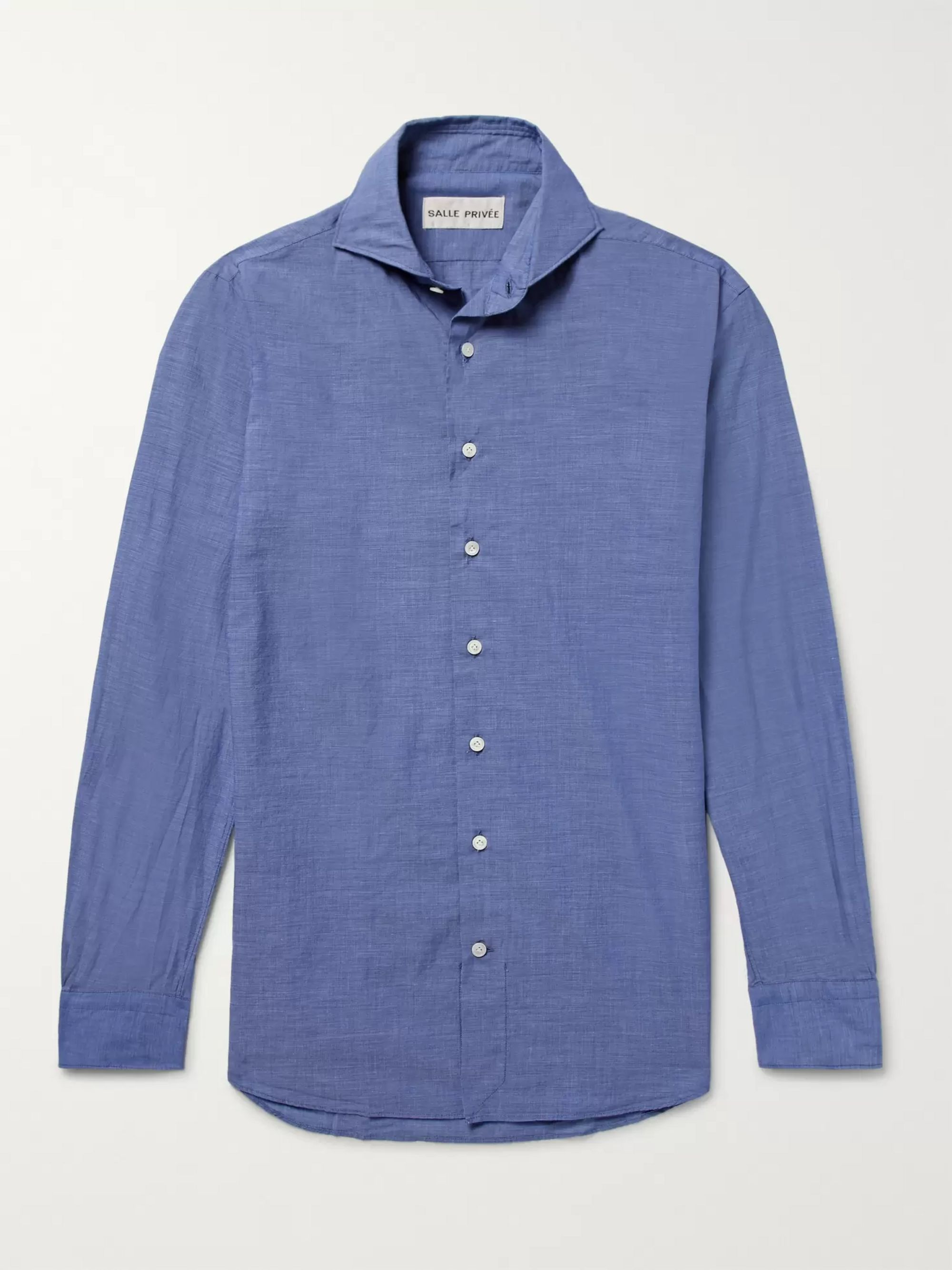 SALLE PRIVÉE Blue Evron Slim-Fit Cutaway-Collar Cotton-Poplin Shirt