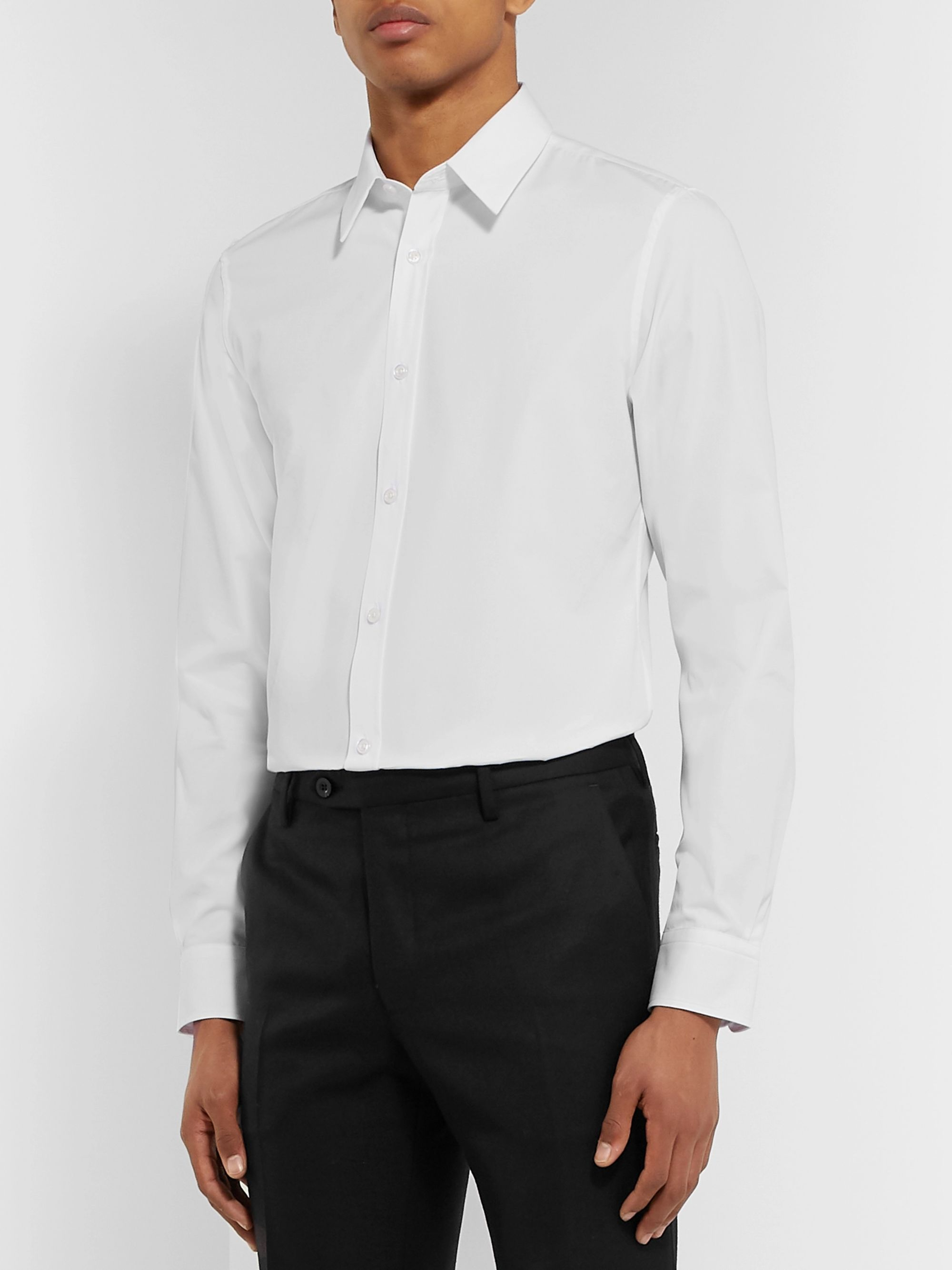 Mr P. White Slim-Fit Cotton-Poplin Shirt