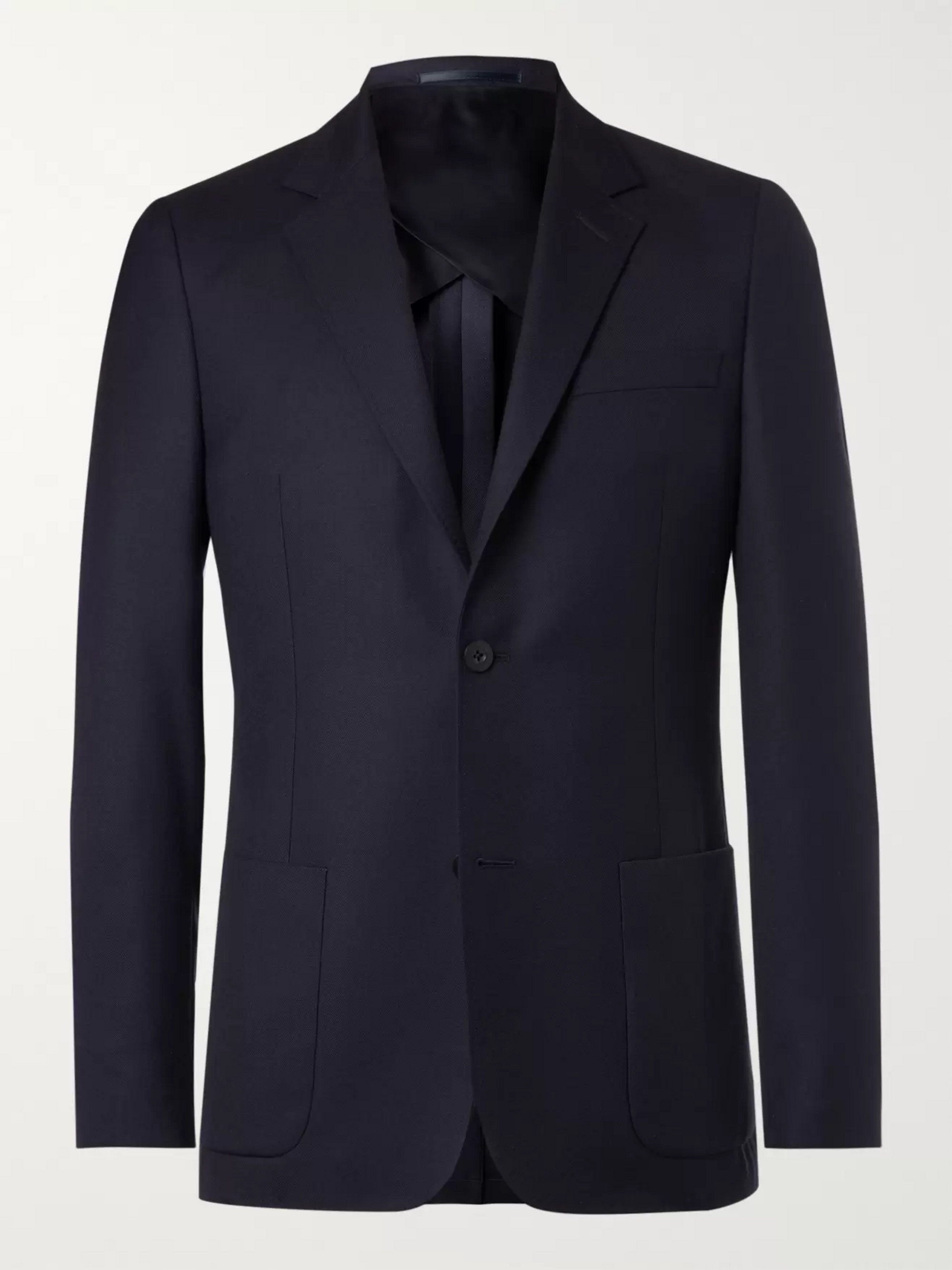 Mr P. Navy Unstructured Worsted Wool Blazer