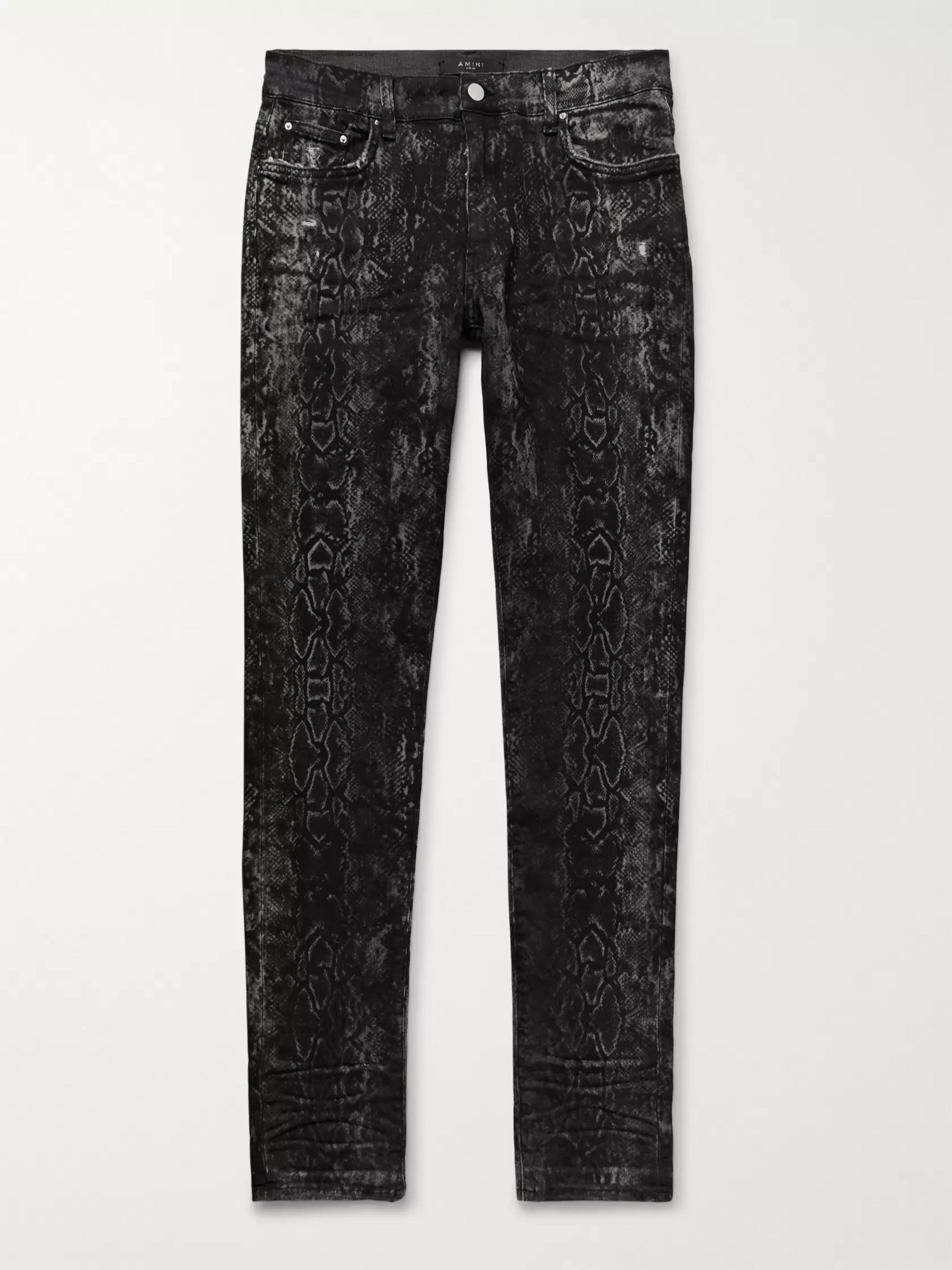 AMIRI Skinny-Fit Distressed Snake-Print Stretch-Denim Jeans