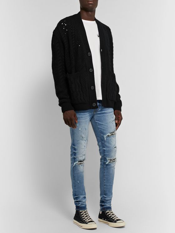 AMIRI Oversized Distressed Cable-Knit Wool and Cashmere-Blend Cardigan